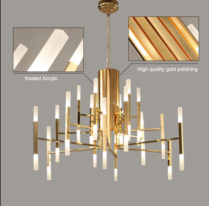 China contemporary gold glossy indoor led pendant lights for Living room 2700k or 3000k