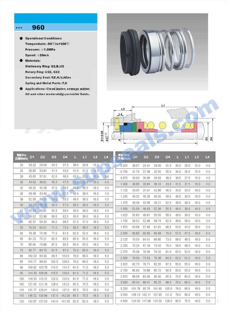 Mechanical Seal Nok Valve Flex Seal O Ring Single-Spring Ptft