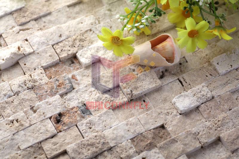 Striscia beige travertino mattonelle di mosaico (cfs843 ...