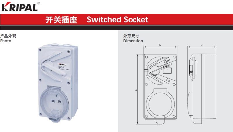 China Ip55 13a 3pin Weatherproof Switched Socket