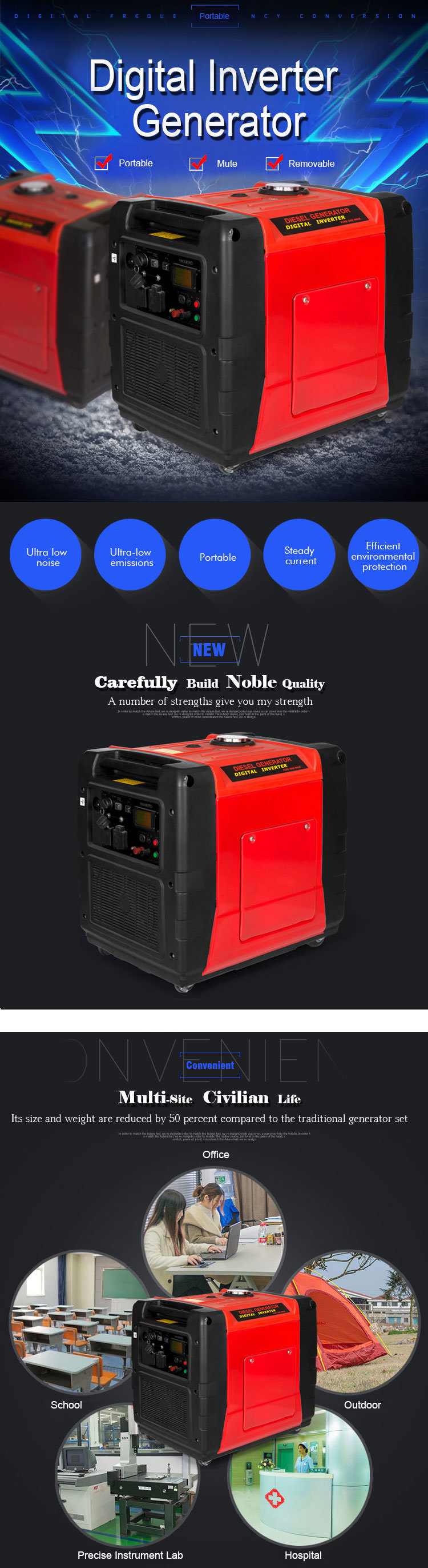 China 5500 Starting Watts Quiet Power Series Portable Generator