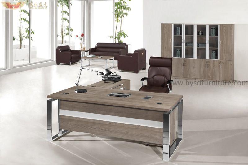 China modern silver pine wood panel luxury executive desk for Oficinas minimalistas