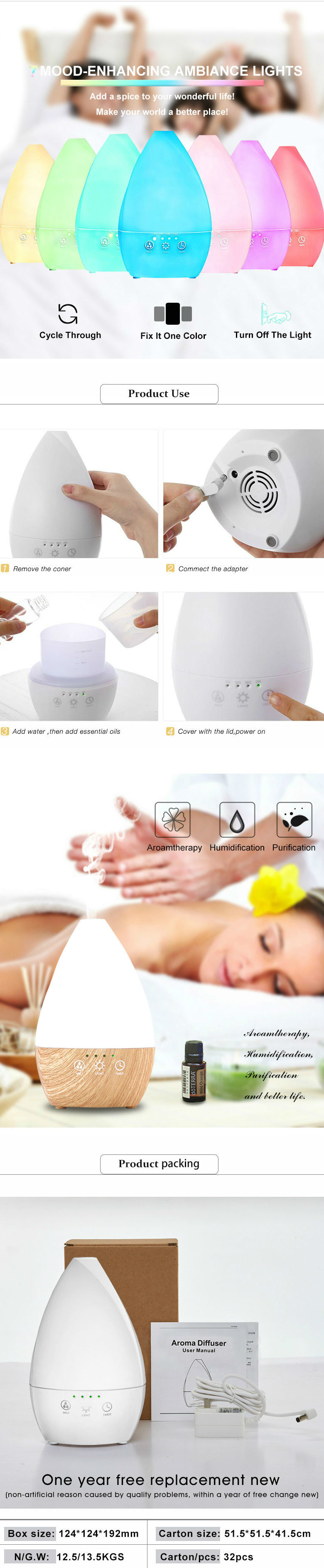 Ultrasonic Humidifier Essential Oils Diffuser Aroma Diffuser with Cool Mist