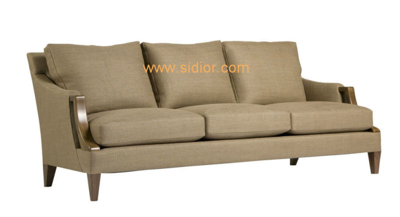 (CL-6617) Classic Hotel Restaurant Lobby Furniture Wooden Fabric Leather Sofa