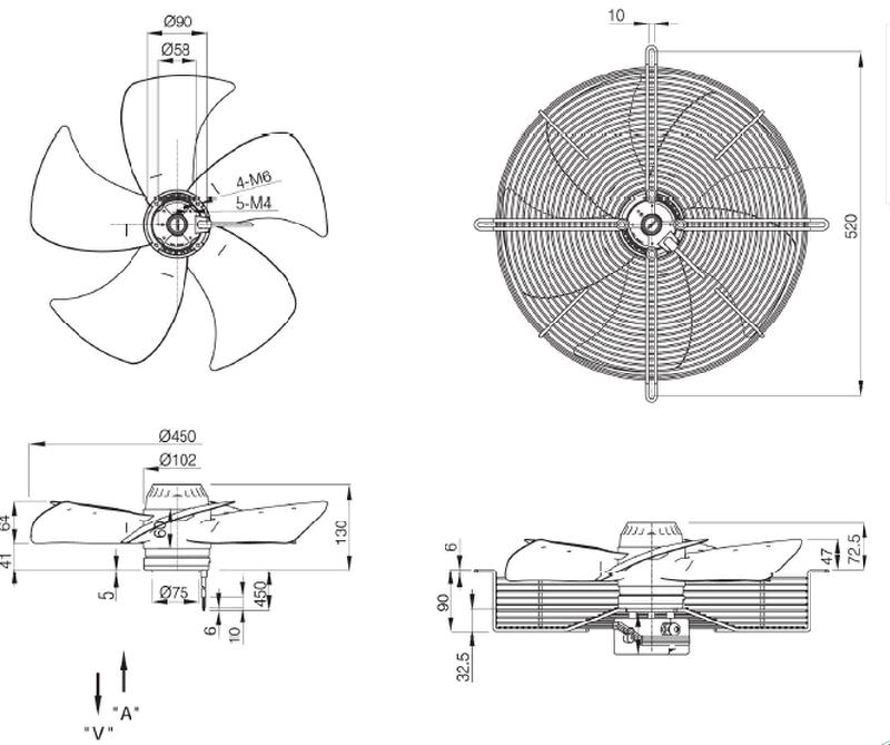 Superior Air Conditioner Industrial Fan Cooling Fan Exhaust Fan (FJ4E-450)