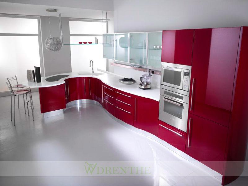 Armadio da cucina rosso della lacca con la barra curva moderna (wh ...