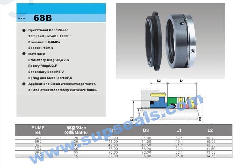 Unbalanced Single Mechanical Seal 68b