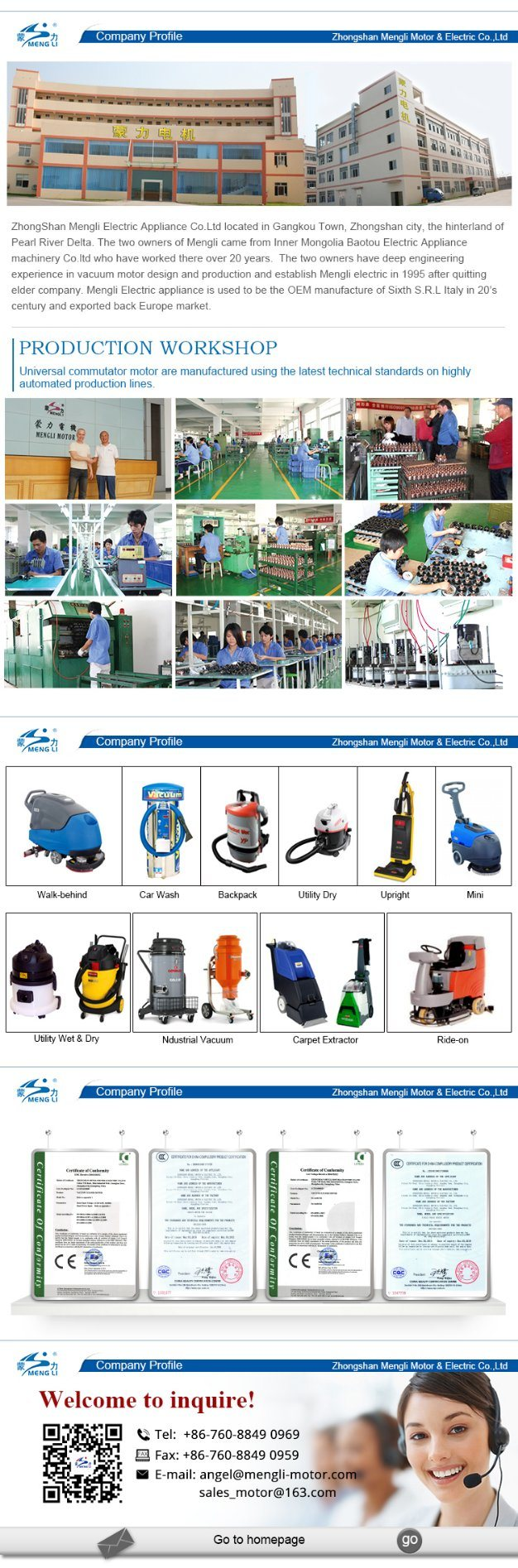 China Supplier Hight Qualtiy AC Vacuum Cleaner Motor / Wet and Dry Vacuum Cleaner Motor