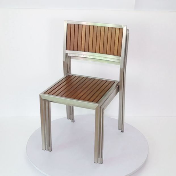 Stainless Steel Teak Wood Garden Sets Patio Furniture Chair Table