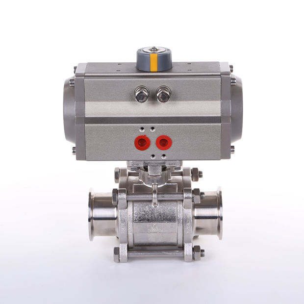 Pneumatic Ball Valve with Tri Clamp Ends and Aluminium Actuator pictures & photos
