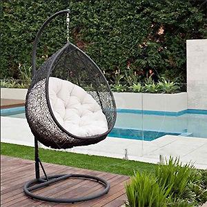PE Wicker Outdoor Birds Nest Hanging Chair Rattan Swinging Hammocks