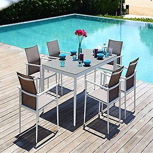 Waterproof Aluminum Frame Sling Fabric Dining Set Garden Furniture