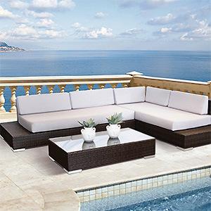 Outdoor Rattan Wicker Sofa Set Garden Patio Furniture Cushioned Sectional Sofa Set