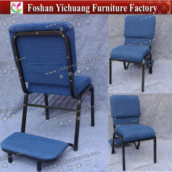 Wholesale Stackable Stacking Blue Fabric Steel Iron Metal Church Chair for Auditorium and Prayer with Kneeler (YC-G38)