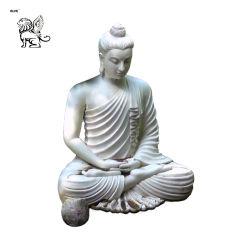 Sitting Round Eastern Fat Buddha Stone Outdoor Garden Statue Ornament Sculpture