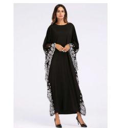 b6d60d95bde76 Black Big Sleeve Chiffon Anarkali Frocks Gowns White Lace Edge Decoration,  New Model Abaya in