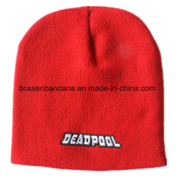83e83216 Factory Produce Customized Logo Embroidered Acrylic Daily Knitted Winter  Red Heather Hat