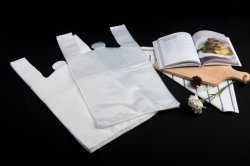 HDPE Poly Plastic Shopping Bag with Gusset for Bakery and Wholesale