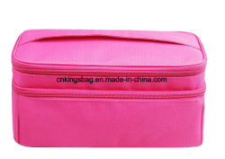 Plaid Polyester Fabric Women Double Layers Travel Cosmetic Case