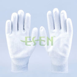 ESD PU Palm Coated Carbon Fiber Work Gloves - Safety Product Factory
