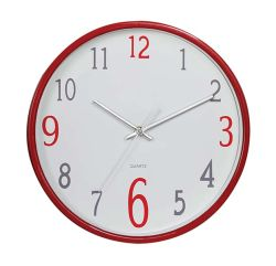 Small Round Simple Fashion Red Color Quartz Wall Clock