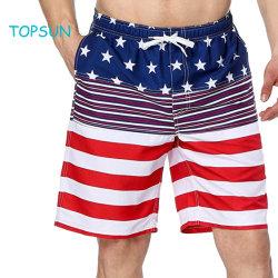 e6f5d3fad8 Men's Summer American Flag Printed Board Shorts with Pocket Swim Short  Trunk Beach Pants
