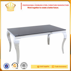 2017 Full Stainless Steel Dining Chair Banquet Chair and Table Home Furniture with Glass Price Sj802