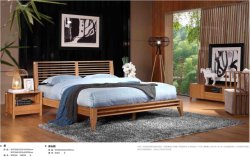 Carbonized Vertical Solid Bamboo Bed with Bedside Table