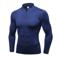 Half Zip Men Dri Fit Compression Sportswear Running Shirt with Custom Logo