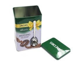 High Quality Packaging Coffee Metal Tin Box with Spoon
