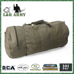 Olive Drab Cotton Canvas Military Carry Duffle Double Sports Gym Shoulder Bag with Strap