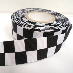 Custom Black and White Woven Grosgrain Ribbon Tape for Sport Clothing Bag