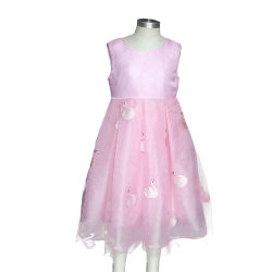 b03a7aeae3 Embroider Smocked Swan Pink Kid Grenadine Bowknot Communion Party School  Uniform Pageant Dress
