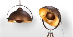 Trip Rod Floor Lamp, Half Round Metal Shade,