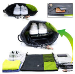 Sports Gym Bag, Large Size with Zipper and Water Bottle Mesh Pockets Drawstring Bag Backpack