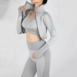 2020 Winter Women Gym Clothing Zippered Workout Fitness Sports Suit Long Sleeve Crop Top Jacket Yoga Bra High Waist Leggings Seamless 3 Piece Sportswear