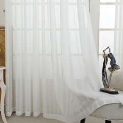 Living Room Cotton Linen Solid Sheer Curtain (18F0093)