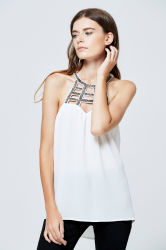 2017 Guangzhou Clothing Factory White Sleeveless Halter Readymade Blouses Wholesale American Casual Woman Apparel