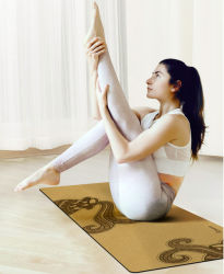 High Quality 183*68cm Custom Print Yoga Exercise Anti-Slip Cork Natural Rubber Yoga Mat with Door to Door Transportation Service and Free Sample