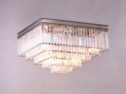 1920s Odeon Clear Glass Fringe Square Ceiling Lamp, Art Deco Style, 1920s