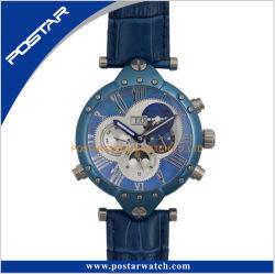 All Stainless Steel 50 Meters Waterproof Genuine Leather Strap RoHS Wrist Watch