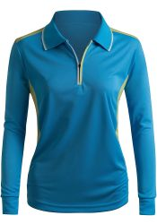 Women's Sport Wear Long Sleeve 2-Tone Zip-up Polo Shirt