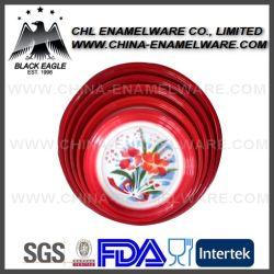 Factory Wholesale Logo Printing Metal Enamel Food Tray for Camping