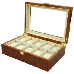 Leather Watch Case Display Storage Box for Sport Watch Stem-Winder Mechanical Watch Accessories Watchband Strap (LW056)