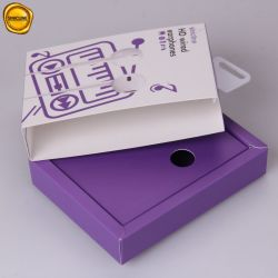 Sinicline Custom Purple and White Sport Wireless Bluetooth Wired Earphone Drawer Box with Hanger