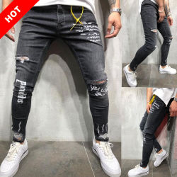 dcfdb2d2d 2019 Fashion Boys Stock Trousers Skinny Pants Ripped Denim Jeans Men Jeans