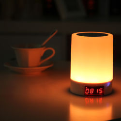 Cylindrical Portable Multicolors Dimmable 100-240V AC LED lamp Bluetooth with Time LED Display