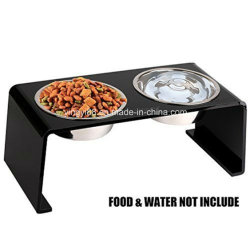 New Acrylic Pet Elevated Feeder Stand with 2 Stainless Steel Bowls for Cats and Dogs