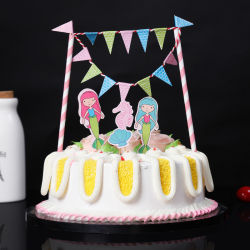 Happy Birthday Party Fish Girl Cake Topper Decorations Wedding Party