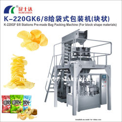 K-220gk 6/8 Stations Pre-Made Bag Packing Machine (For block shape materials)